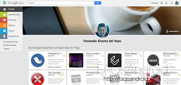 Google Play Store ahora muestra perfiles con la actividad reciente