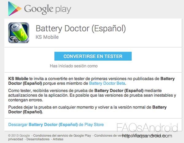 Aplicaciones Android beta