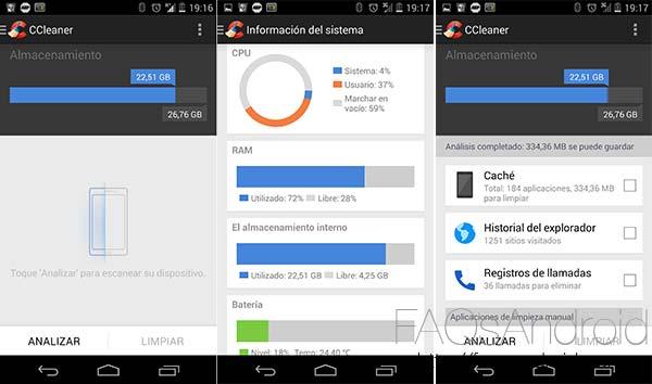 Aplicaciones Android beta: CCleaner