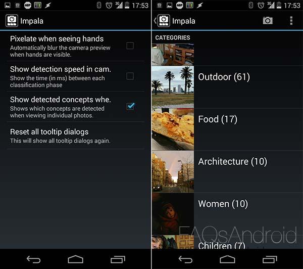 Impala, app para categorizar la galería de imágenes con cámara incorporada