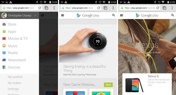 Google Play ya tiene una versión web para móviles