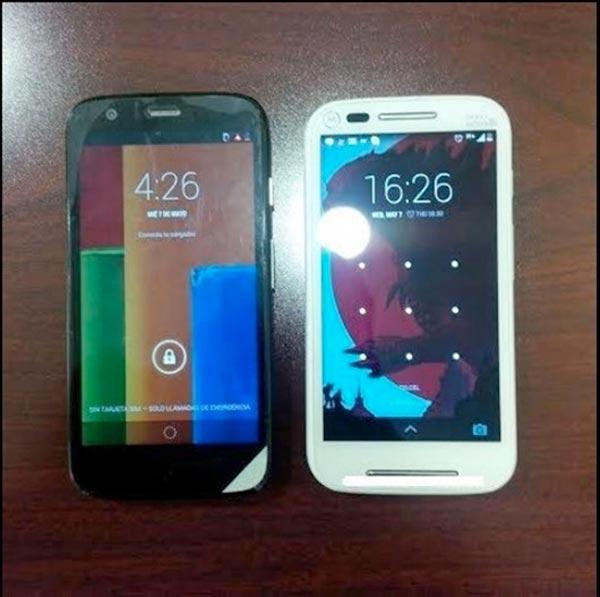 Primera fotografía del Motorola Moto E junto a un Moto G