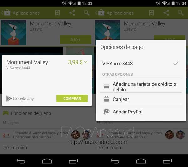 Cómo pagar con PayPal y canjear tarjetas regalo en Google Play