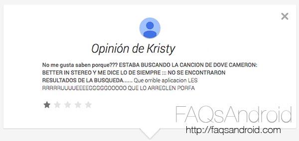 Comentarios de la Google Play Store