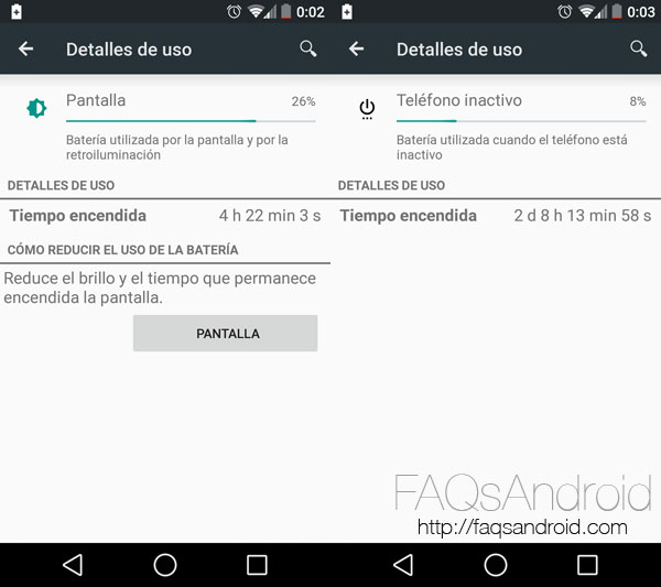 El consumo de batería de un Nexus 5 con Android L