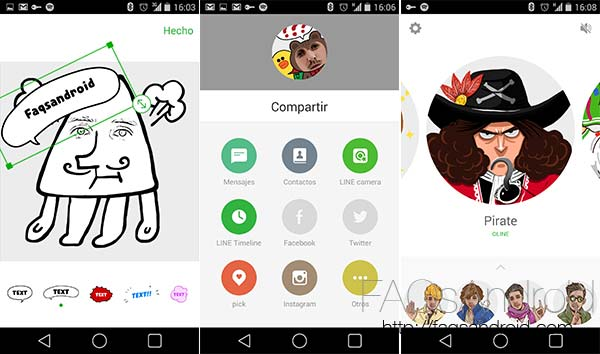 LINE Selfie Sticker, auto retratos con el aspecto de Stickers de LINE
