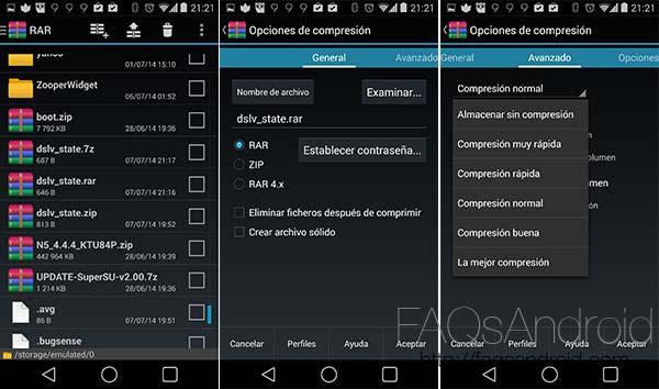 Comprime y descomprime archivos rar, zip, gzip, 7zip... directamente en Android