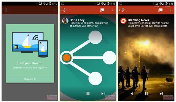 La app de Google+ se actualiza ofreciendo compatibilidad con el Google Chromecast