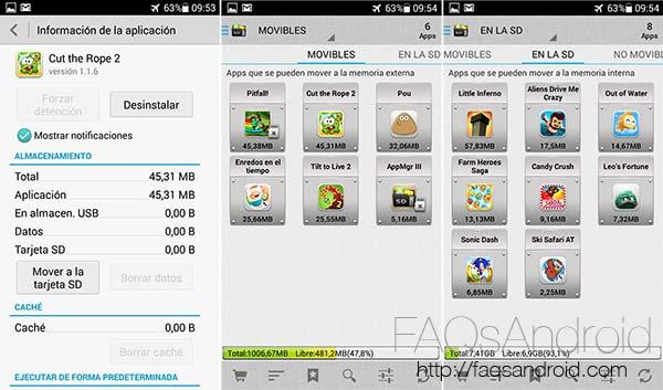 Cómo mover aplicaciones a la SD en el Huawei Ascend G630 y móviles similares