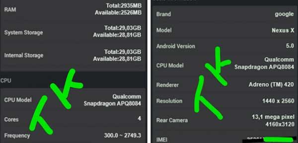 Filtradas algunas de las especificaciones del Nexus 6, posible Nexus X