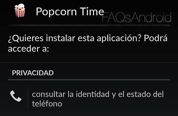 Popcorn Time para Android fuera de la Play Store y actualizado a la versión 2.2