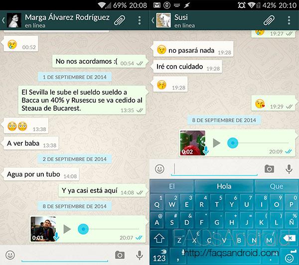 Confirmación de lectura en WhatsApp para Android con doble chek azul