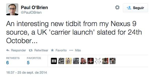 Rumor: El HTC Nexus 9 podría lanzarse el 24 de octubre