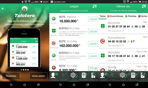 Juega a la lotería, a la primitiva y mucho más en tu Android con Tulotero