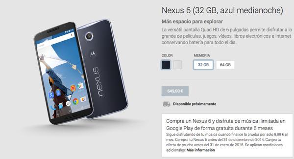 El Nexus 6 ya aparece listado en la Google Play Store española