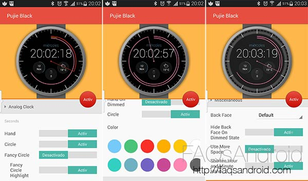 Pujie, el set de watchfaces para tu smartwatch con Android Wear que esperabas