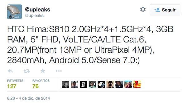 El sucesor del One M8, el HTC Hima, pinta realmente impresionante