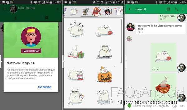 Hangouts recibe una profunda actualización: stickers, última conexión...