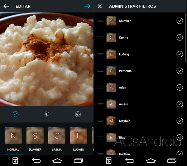 Nuevos filtros y opciones en Instagram para Android