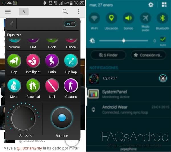 Ecualizador en popup con surround incorporado: Equalizer para Android
