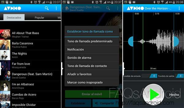 Personaliza tu teléfono con música: corta y edita tus canciones, descarga tonos...