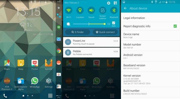 Filtrada la apariencia de Lollipop 5.0.1 en el Samsung Galaxy Note Edge