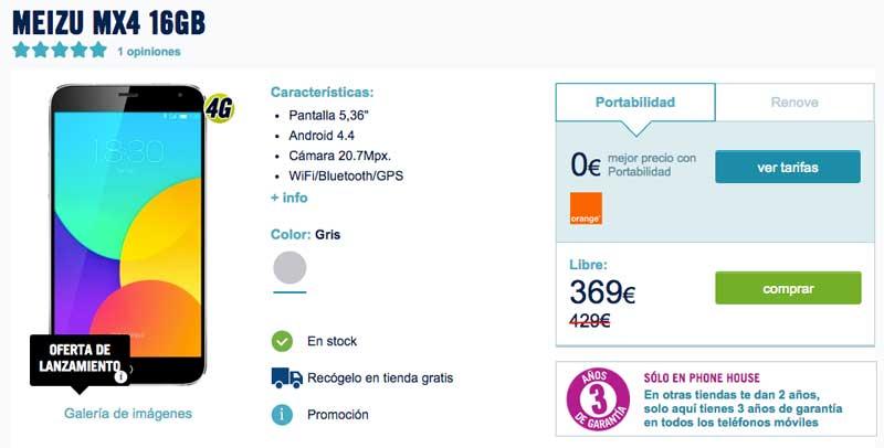 El Meizu MX4 en Phone House: precios y alternativas