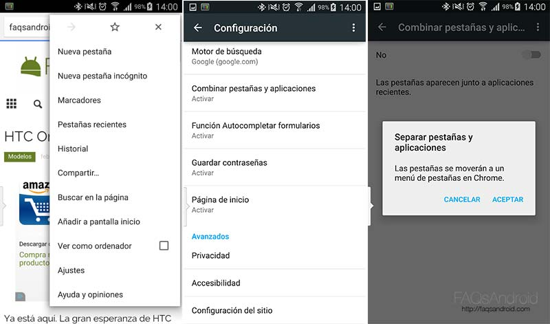 Cómo administrar las pestañas de Chrome desde el navegador si tienes Android Lollipop