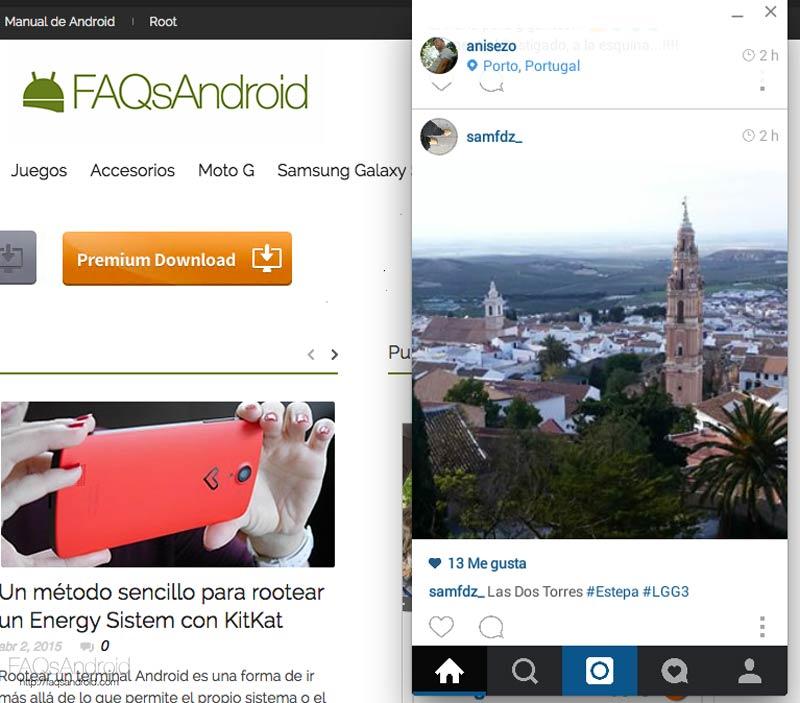 Cómo subir fotos a Instagram desde el ordenador usando la aplicación Android