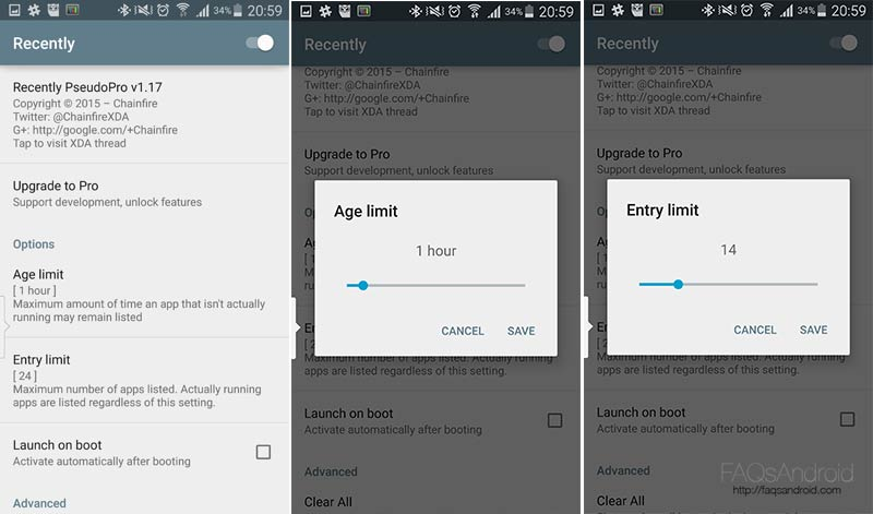Recently, toma el control del menú de última apps en Lollipop (ROOT)