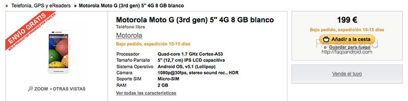 Motorola Moto G 2015: Filtradas las especificaciones y precio en FNAC