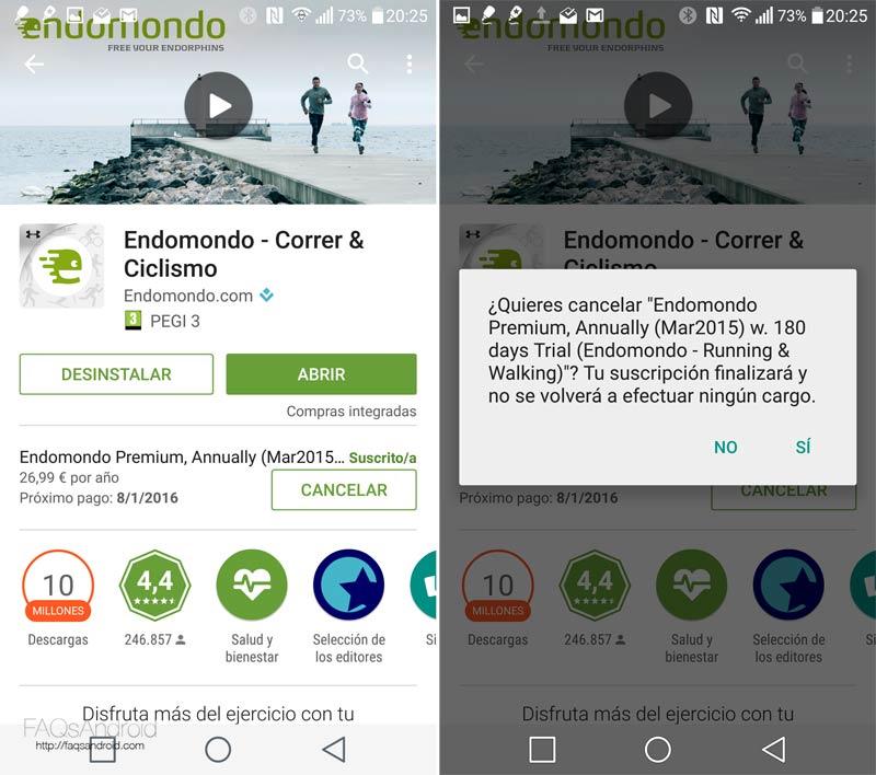 Gestionar las suscripciones de la Google Play Store