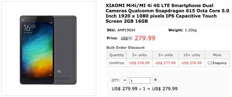 Xiaomi Mi4i en Spemall