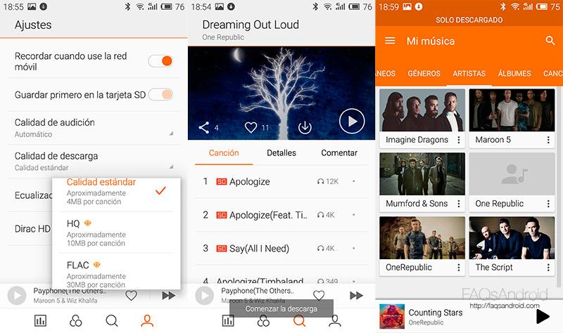¿Qué app android o servicio usas para escuchar música en el móvil?