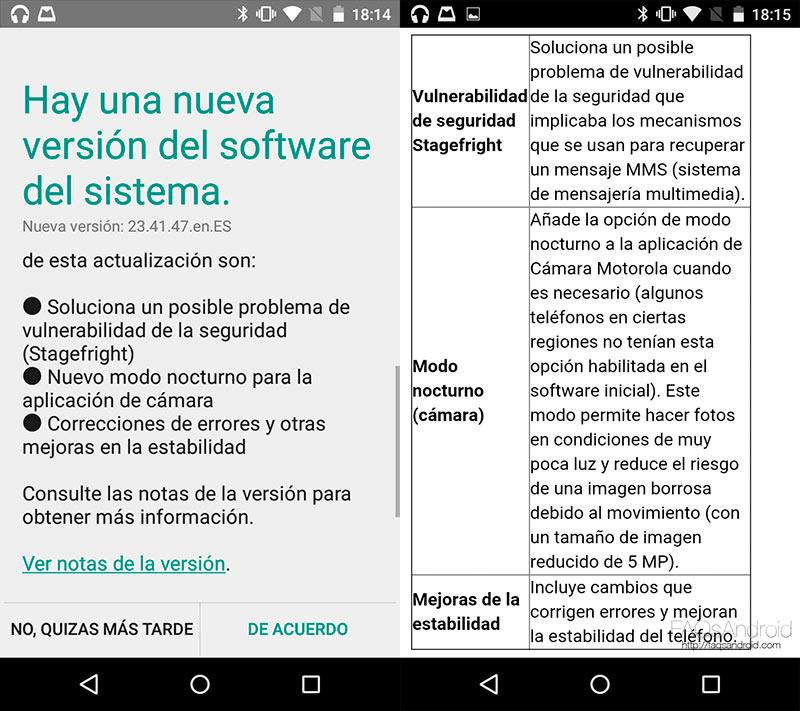 Actualización del Moto G 2015 que mejora cámara, seguridad...