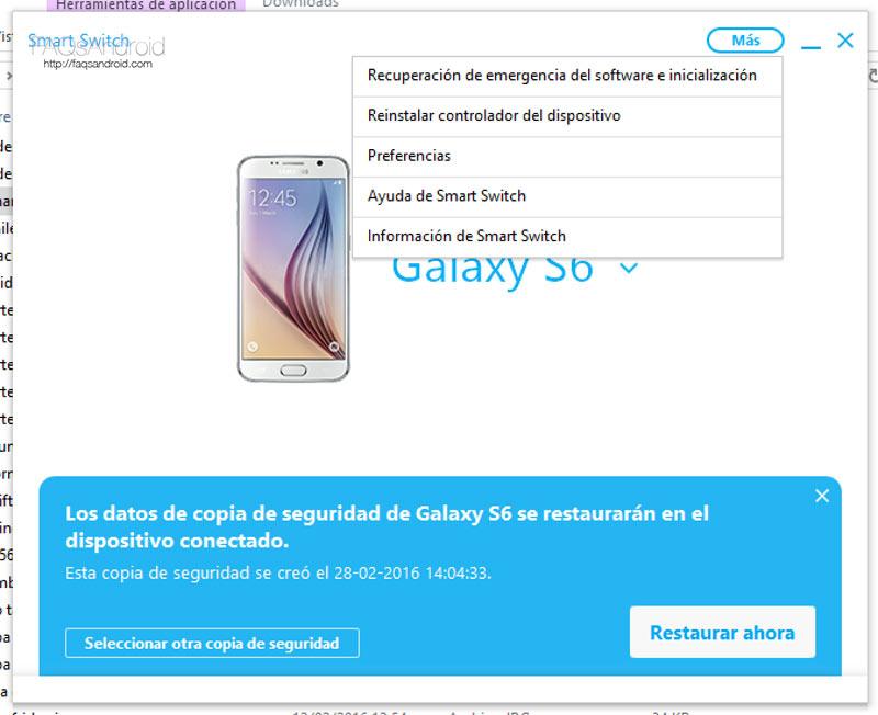 Smart Switch para Samsung, copias de seguridad y actualizaciones