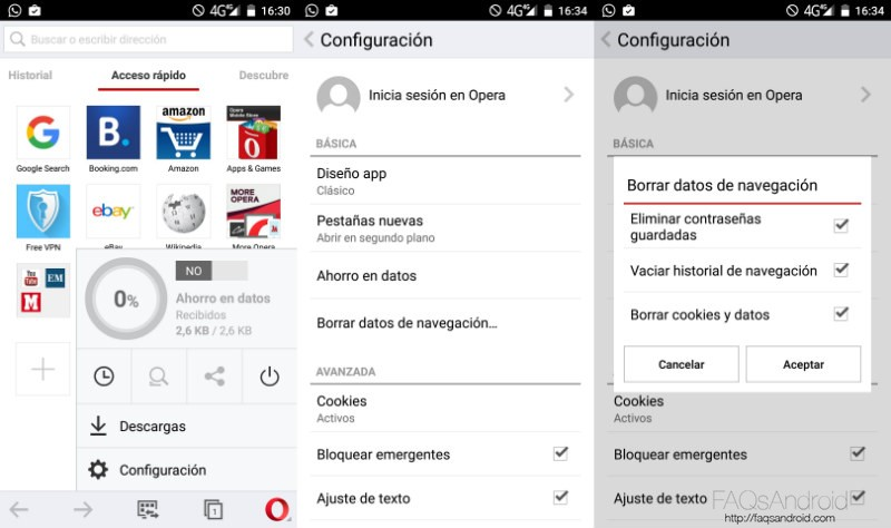 Borrar Historial Android Opera