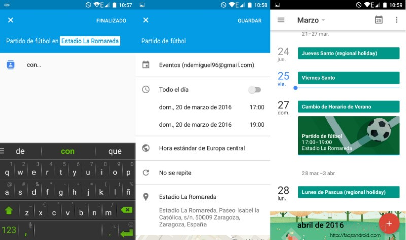 Calendario en Android Google Calendar