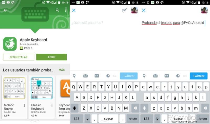 iOS en Android Teclado