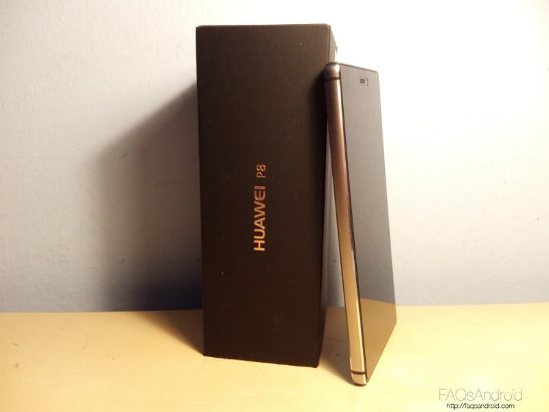 Análisis Huawei P8 Apoyado Caja