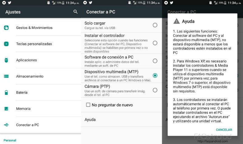 ¿Qué son las opciones que aparecen al conectar un Android a un PC?