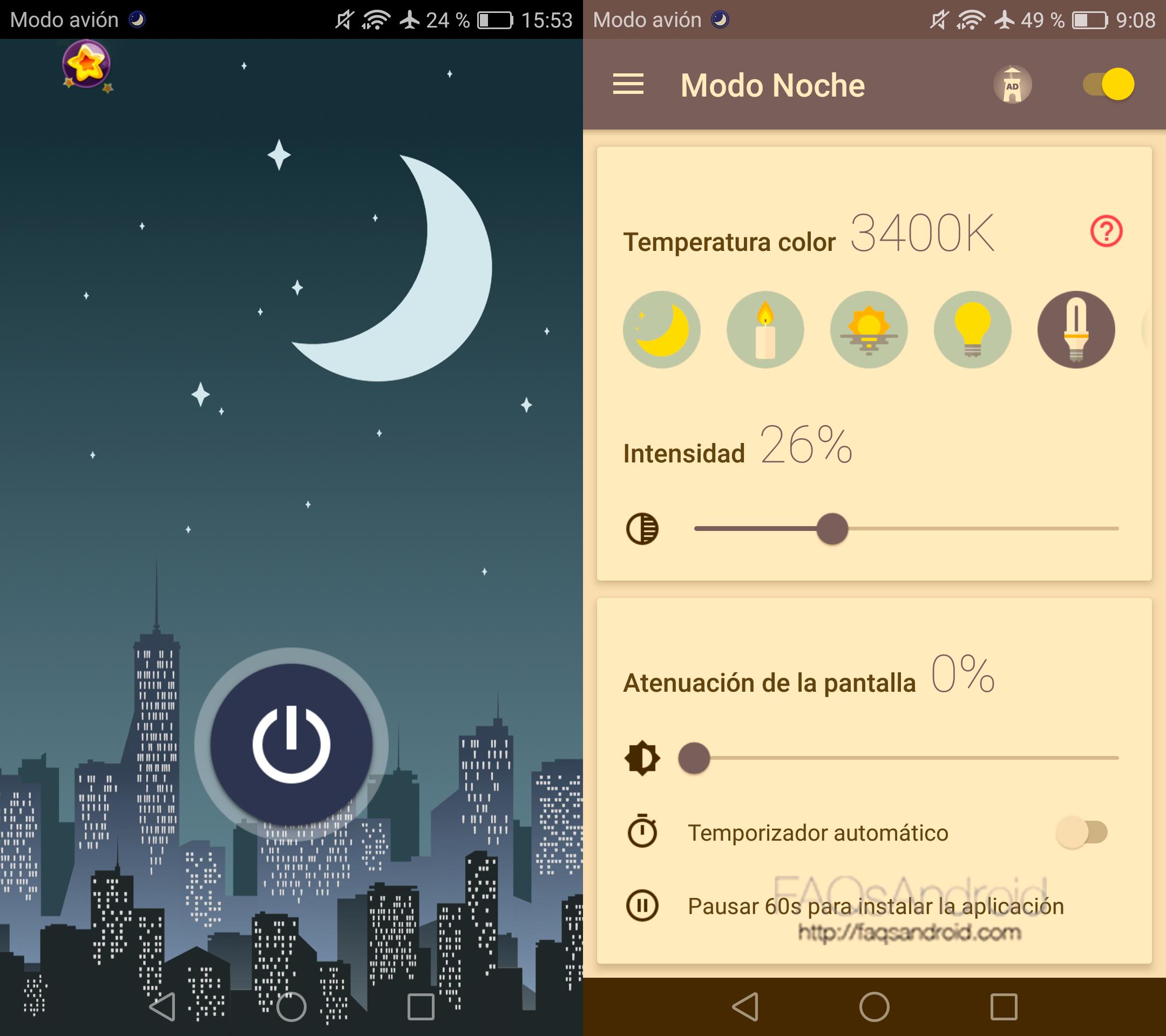 modo noche app